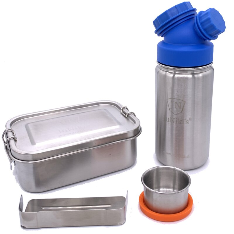 Special idea for school enrollment: Premium-Set with leak-proof lunchbox and 14oz drinking bottle - blue