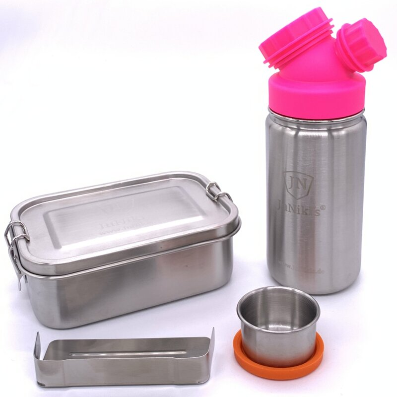 Special idea for school enrollment: Premium-Set with leak-proof lunchbox and 14oz drinking bottle - pink