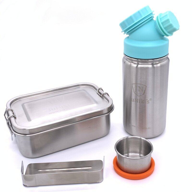 Special idea for school enrollment: Premium-Set with leak-proof lunchbox and 14oz drinking bottle - turquoise