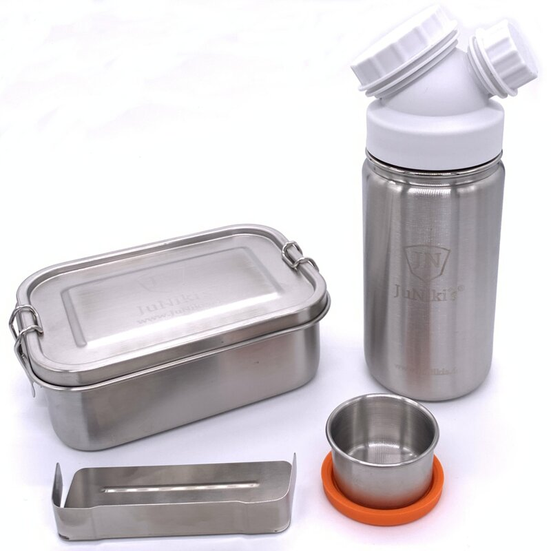 Special idea for school enrollment: Premium-Set with leak-proof lunchbox and 14oz drinking bottle - white