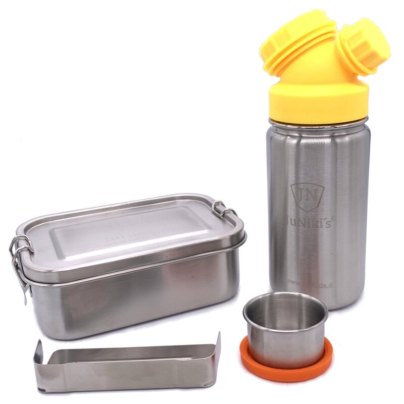 Special idea for school enrollment: Premium-Set with leak-proof lunchbox and 14oz drinking bottle - yellow