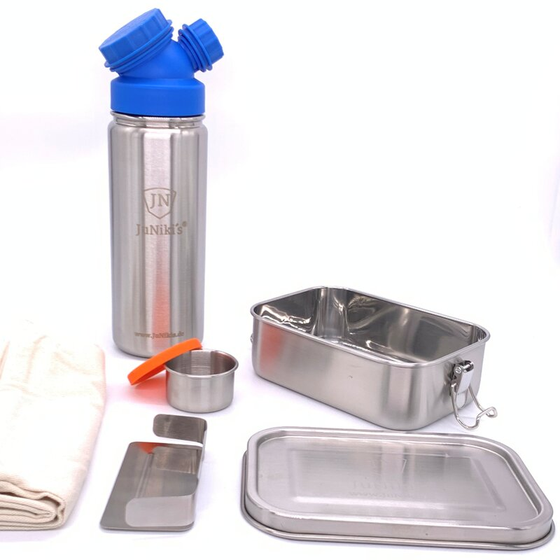Back to School: Premium-Set with leak-proof lunchbox and 18oz drinking bottle blue