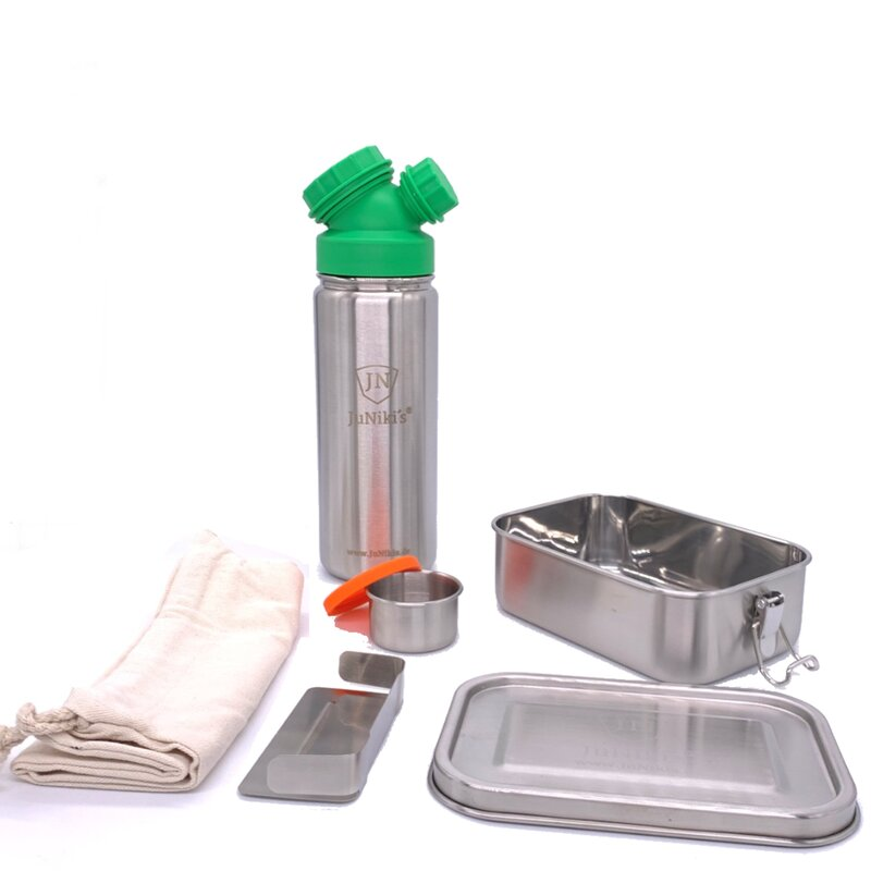 Back to School: Premium-Set with leak-proof lunchbox and 18oz drinking bottle green