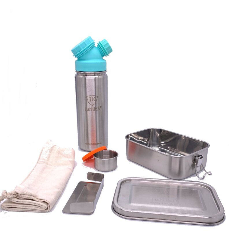 Back to School: Premium-Set with leak-proof lunchbox and 18oz drinking bottle turquoise