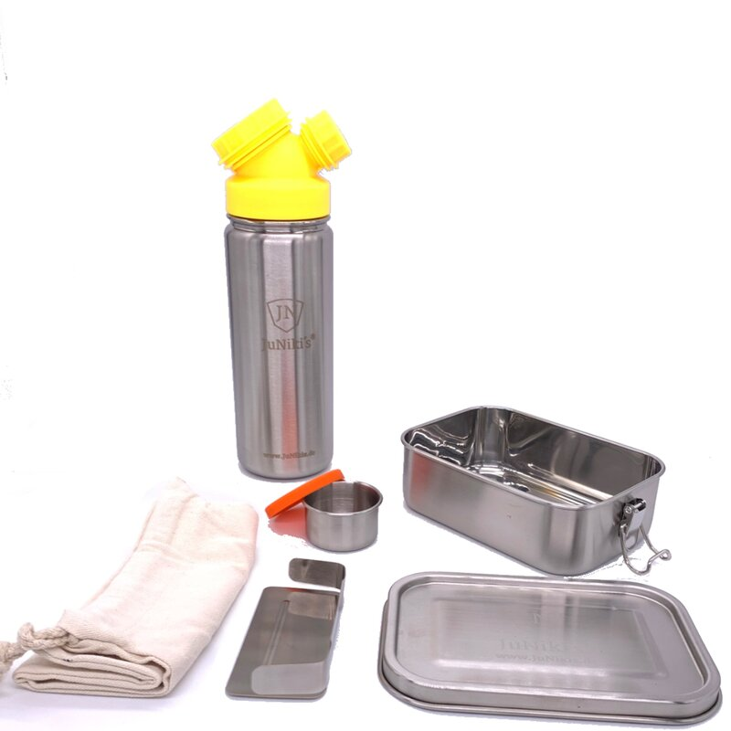 Back to School: Premium-Set with leak-proof lunchbox and 18oz drinking bottle yellow