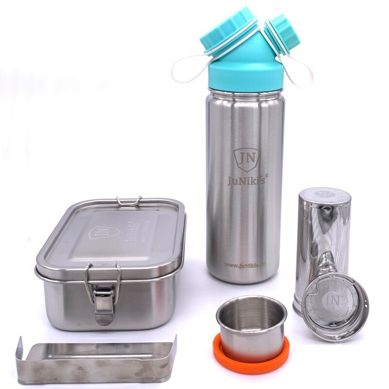 Frühlingsedition | JuNiki´s® Lunchbox/Trinkflasche 550ml/Teefilter türkis
