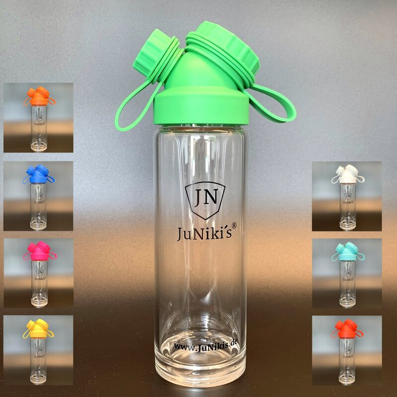 German engineered JuNikis Borosilicate Glass Flask 18oz + colored cap