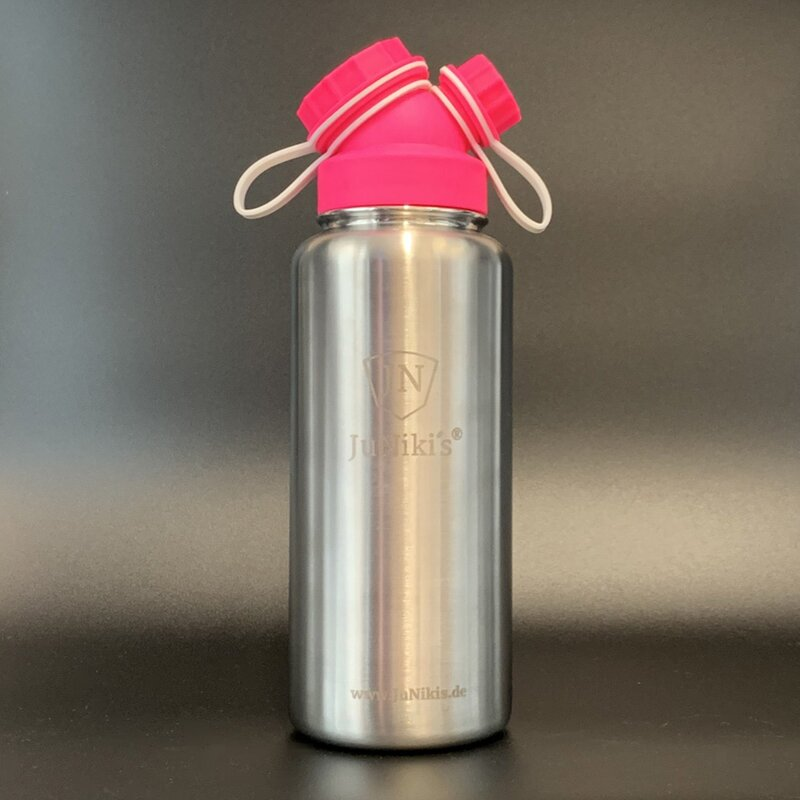 JuNiki´s® eco line insulated stainless steel flask 32oz with cap in Pink/White 32oz