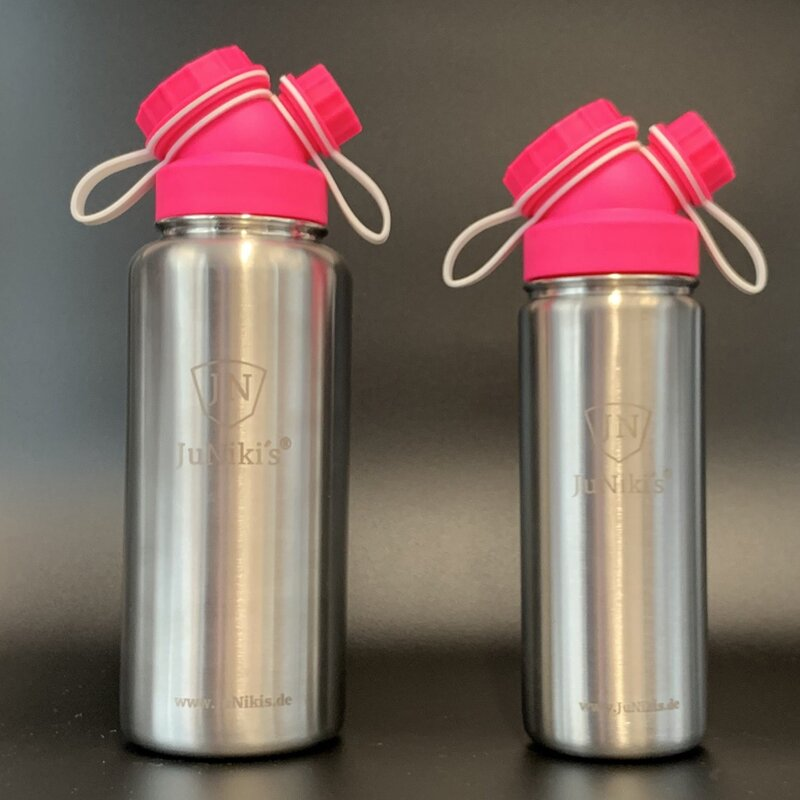 JuNiki´s® eco line insulated stainless steel flask 18oz/32oz with cap in Pink/White Set: 18oz + 32oz