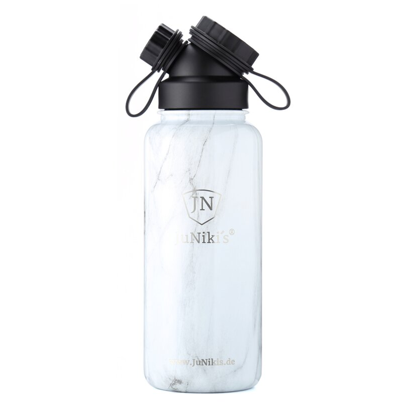 INSULATED STAINLESS STEEL FLASK // 32OZ // WHITE MARBLE