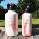 INSULATED STAINLESS STEEL FLASK // 32OZ // RED MARBLE