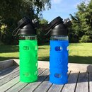 SET SINGLE WALL  GLASS FLASK + 2 SILICONE SLEEVES BLUE/GREEN