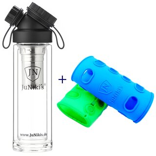SET DOUBLE WALL  GLASS FLASK + TEA INFUSER + 2 SILICONE...