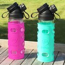 SET DOUBLE WALL  GLASS FLASK + TEA INFUSER + 2 SILICONE SLEEVES PURPLE/TURQUOISE