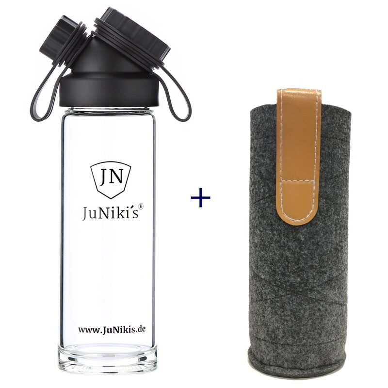 Set: JuNiki´s Glasflasche  550ml/18oz + Filzhülle grau