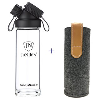 SET SINGLE WALL GLASS FLASK + FELT SLEEVE GREY