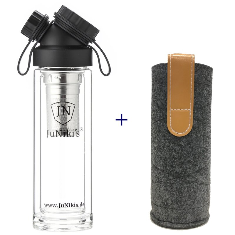 SET DOUBLE WALL GLASS FLASK + TEA INFUSER + FELT SLEEVE GREY
