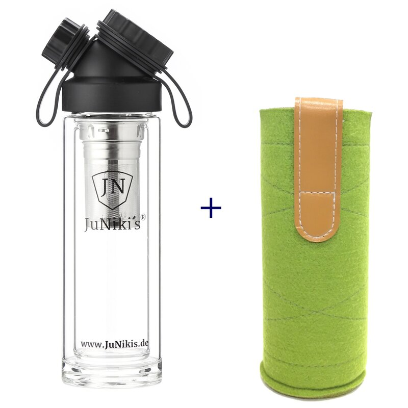 SET DOUBLE WALL GLASS FLASK + TEA INFUSER + WOOLFELT SLEEVE GREEN