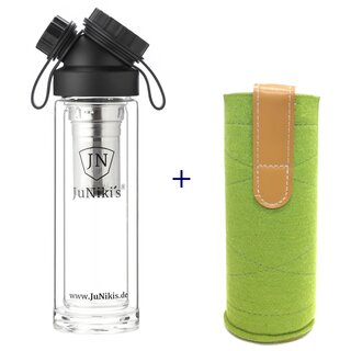 SET DOUBLE WALL GLASS FLASK + TEA INFUSER + WOOLFELT...