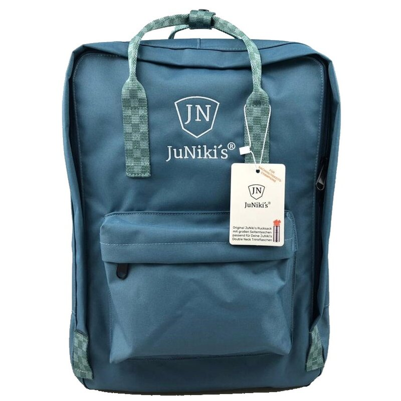 Hip JuNiki´s Backpack - with 2 side pockets big enough for drinking bottles - Turquoise chessboard pattern