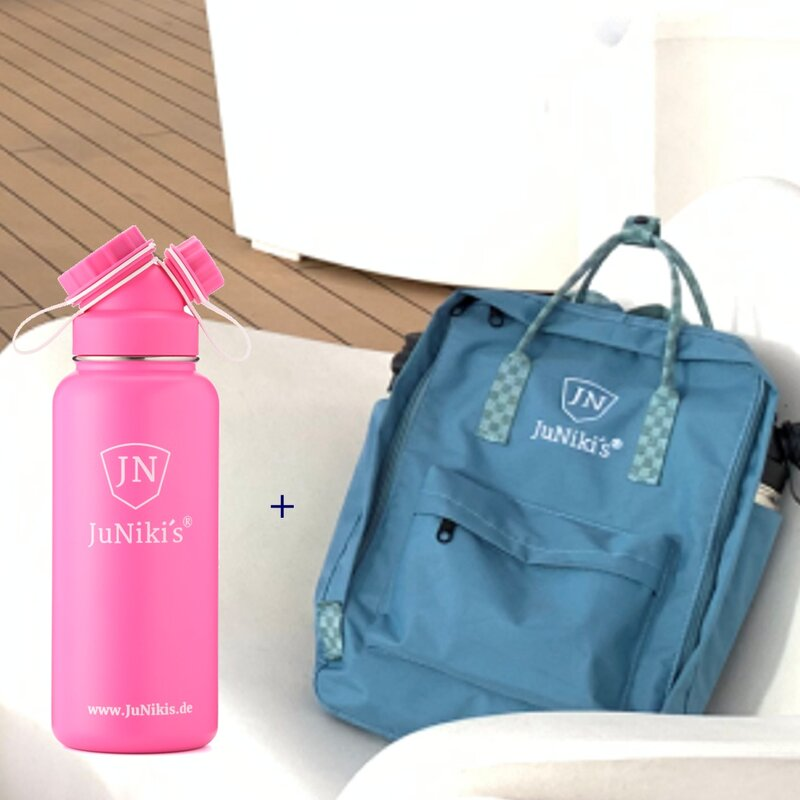 Promotional-Sets with 30 EUR Benefit: JuNiki´s Backpack and 32oz insulated stainless steel flask Pink Panther