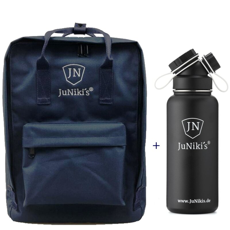 Promotional-Sets with 30 EUR Benefit: JuNiki´s Backpack and 32oz insulated stainless steel flask Black Devil
