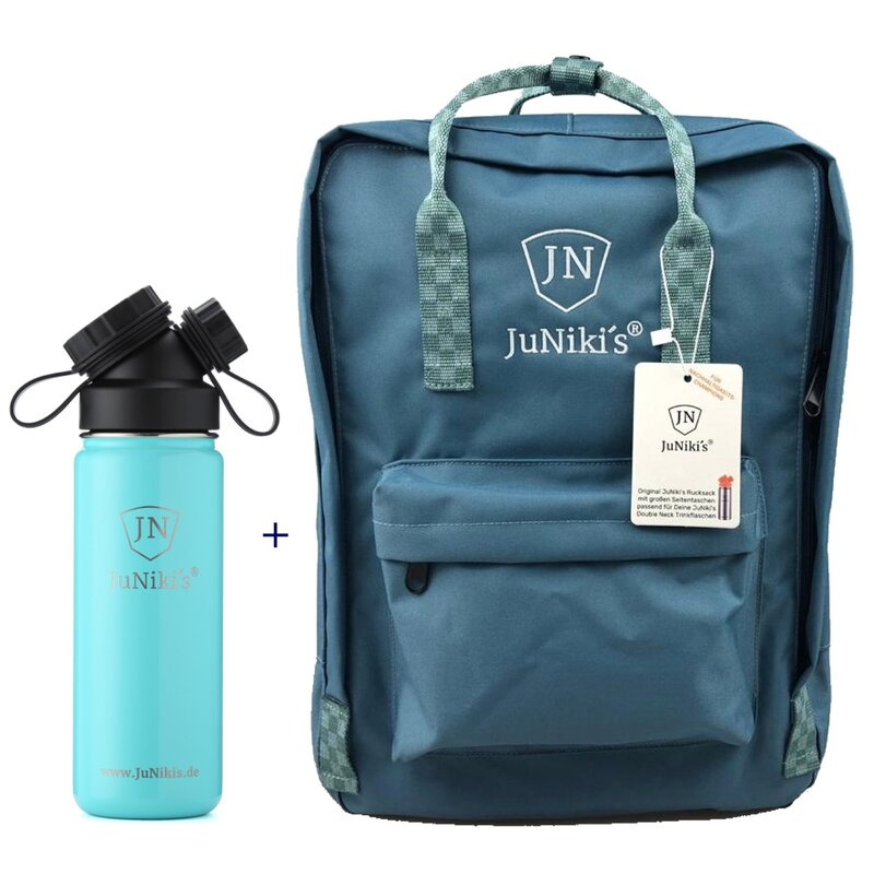 Promotional-Sets with 20 EUR Benefit: JuNiki´s Backpack and 18oz insulated stainless steel flask Turquoise