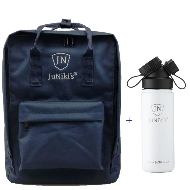 Promotional-Sets with 20 EUR Benefit: JuNiki´s Backpack and 18oz insulated stainless steel flask White