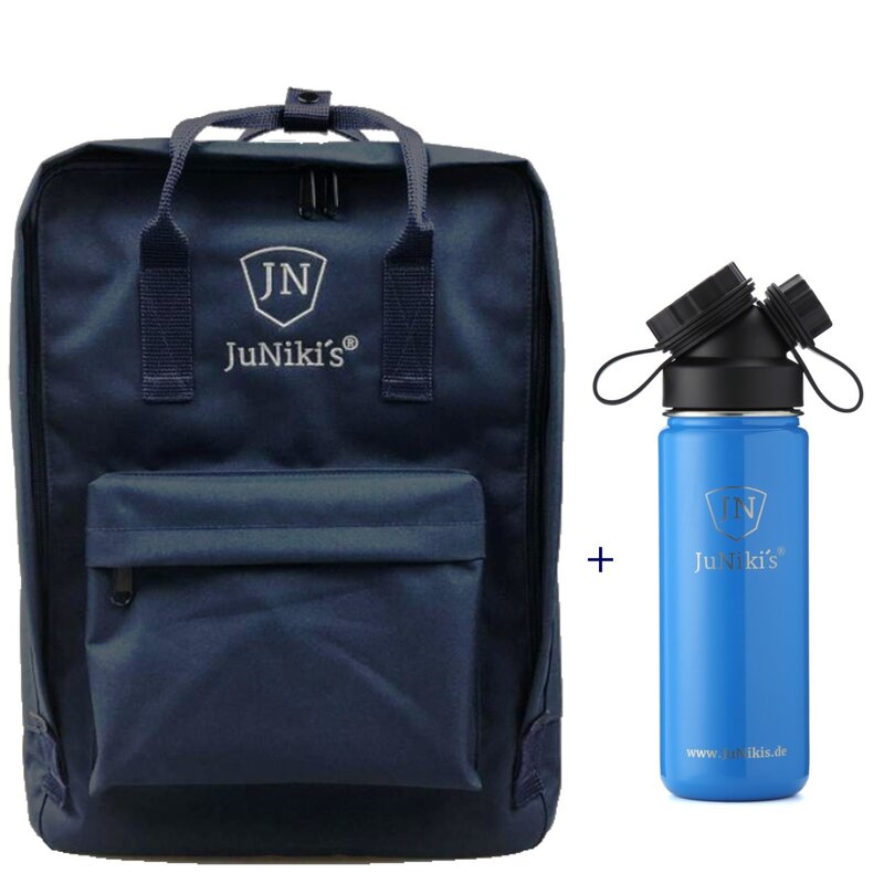 Promotional-Sets with 20 EUR Benefit: JuNiki´s Backpack and 18oz insulated stainless steel flask Blue